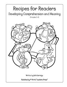 Recipes for Readers: Developing Comprehension and Meaning Worksheet