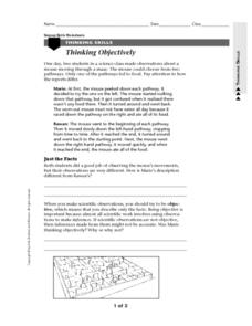 Thinking Objectively Worksheet