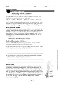 Boosting Your Memory Worksheet