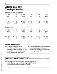Adding One- and Two-Digit Numbers Worksheet