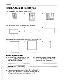 Finding Area of Rectangles Worksheet