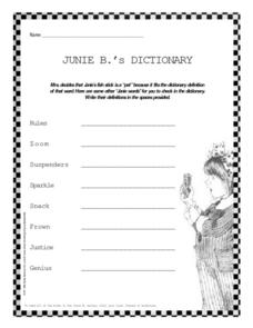 Junie B.'s Dictionary Worksheet
