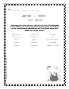 Junie B. Packs Her Bags Worksheet