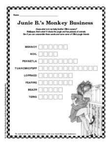Junie B.'s Monkey Business Worksheet