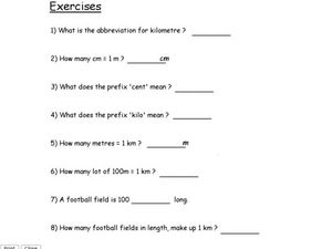 Metric System Exercises Lesson Plan