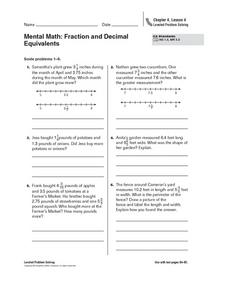 Mental Math: Fraction and Decimal Equivalents Worksheet