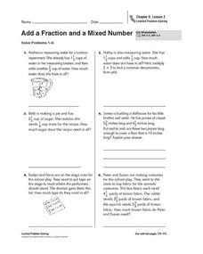 Add a Fraction and a Mixed Number Worksheet