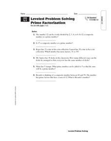 Leveled Problem Solving: Prime Factorization Worksheet