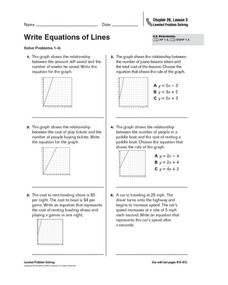 Write Equations of Lines Worksheet