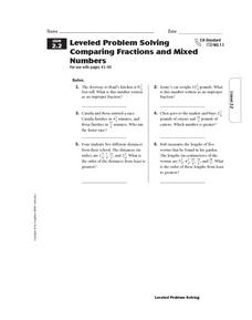 Leveled Problem Solving Comparing Fractions and Mixed Numbers Worksheet