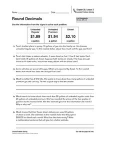 Round Decimals Worksheet