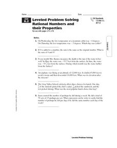 Leveled Problem Solving  Rational Numbers and  their Properties Worksheet