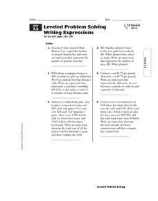 Leveled Problem Solving: Writing Expressions Worksheet