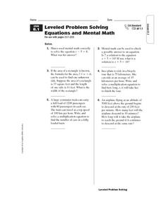 Leveled Problem Solving  Equations and Mental Math Worksheet