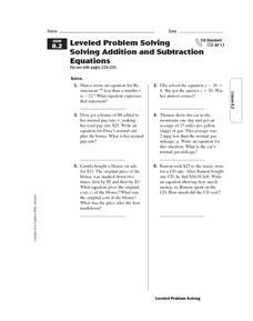 Leveled Problem Solving  Solving Addition and Subtraction  Equations Worksheet