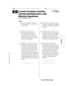 Leveled Problem Solving Solving Multiplication and Division Equations Worksheet