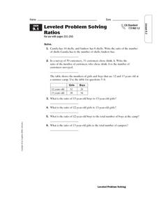 Leveled Problem Solving  Ratios Worksheet