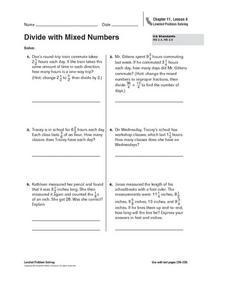 Divide with Mixed Numbers Worksheet