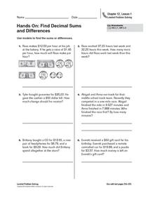 Hands On: Find Decimal Sums  and Differences Worksheet