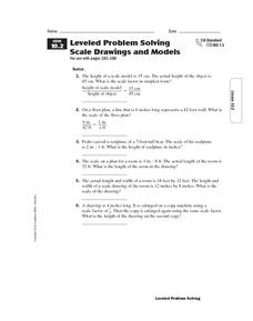 Leveled Problem Solving Scale Drawings and Models Worksheet