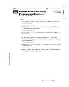 Leveled Problem Solving Percents and Fractions Worksheet