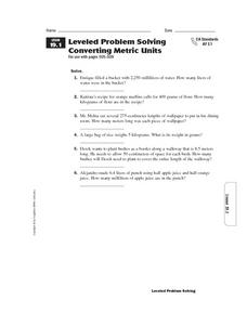 Leveled Problem Solving Converting Metric Units Worksheet