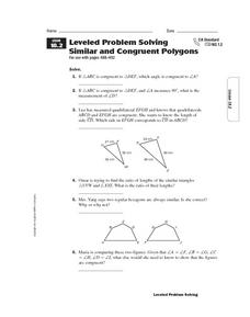 Leveled Problem Solving Similar and Congruent Polygons Worksheet