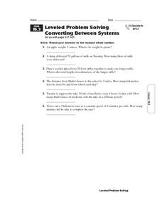 Leveled Problem Solving Converting Between Systems Worksheet