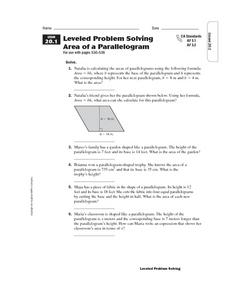 Leveled Problem Solving: Area of a Parallelogram Worksheet