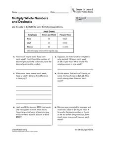 Multiply Whole Numbers and Decimals Worksheet