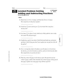 Leveled Problem Solving  Adding and Subtracting Fractions Worksheet