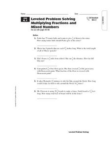 Leveled Problem Solving Multiplying Fractions and Mixed Numbers Worksheet
