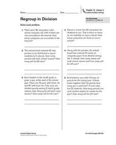 Regroup in Division Worksheet