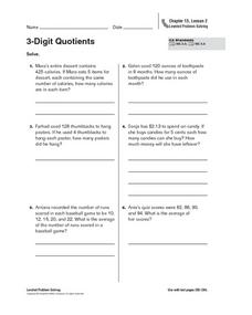 3-Digit Quotients Worksheet