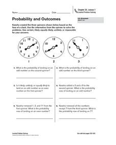 Probability and Outcomes Worksheet
