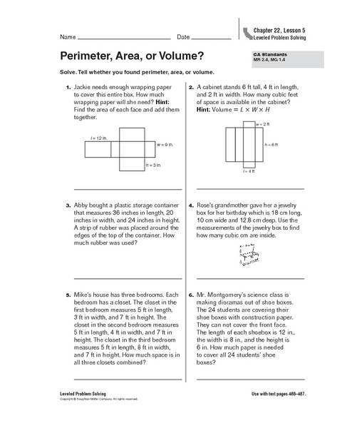 Perimeter, Area or Volume? 5th Grade Worksheet | Lesson Planet