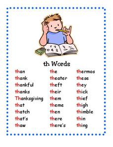 """Th"" Words Printables & Template"