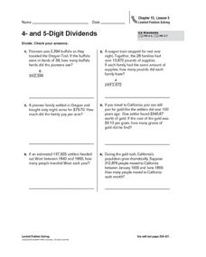 4 and 5 Digit Dividends Worksheet