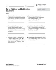 Solve Addition and Subtraction  Equations Worksheet