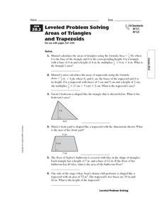 Leveled Problem Solving Areas of Triangles and Trapezoids Worksheet