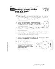 Leveled Problem Solving: Area of a Circle Worksheet