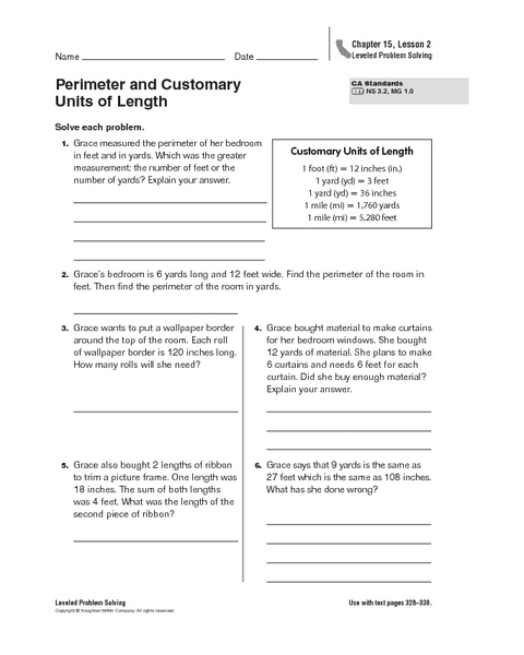 perimeter and customary units of length worksheet for 4th 6th grade lesson planet. Black Bedroom Furniture Sets. Home Design Ideas