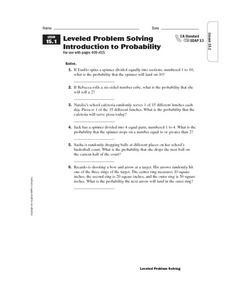Leveled Problem Solving: Introduction to Probability Worksheet