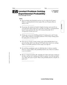 Leveled Problem Solving: Experimental Probability Worksheet