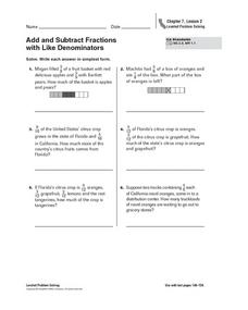 Add and Subtract Fractions with Like Denominators - CA Standards Worksheet Worksheet