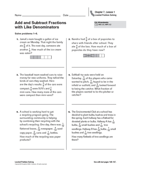 add and subtract fractions with like denominators 2 word problems worksheet for 4th 5th. Black Bedroom Furniture Sets. Home Design Ideas