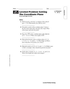 Problem Solving: The Coordinate Plane Worksheet