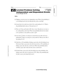 Leveled Problem Solving: Independent and Dependent Events Worksheet
