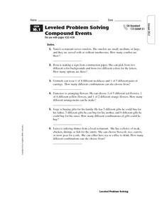 Leveled Problem Solving  Compound Events Worksheet
