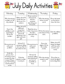 July Daily Activities Worksheet